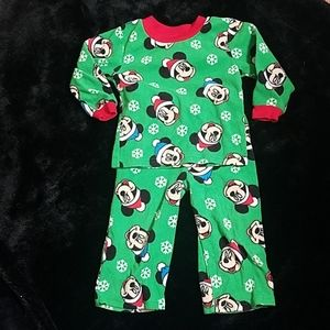Disney Mickey Mouse green Christmas pajamas